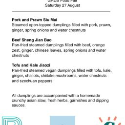 GRUB Food Fair Menu – Saturday 27 August